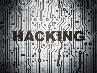Privacy concept: circuit board with Hacking