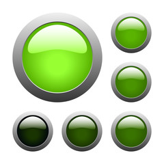 vector green glass buttons