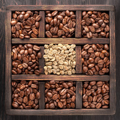 Green coffee and roasted coffee beans in wooden box