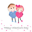 Cartoon lovely couple greeting card heart vector