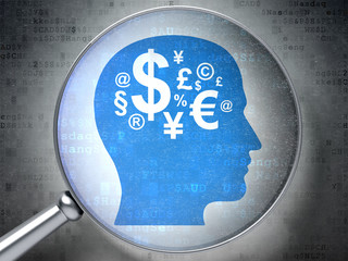 Advertising concept: Head With Finance Symbol with optical glass