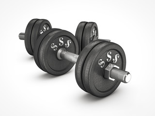 dumbbell weights with money sign
