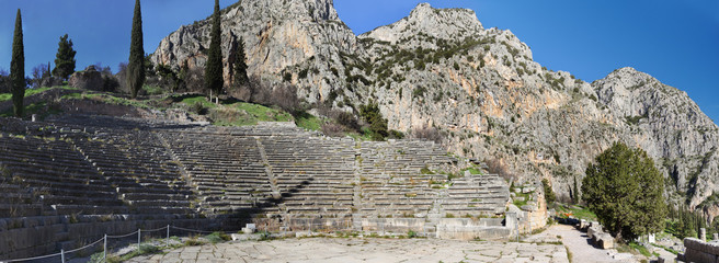 Ancient theater of Delphi, Greece .