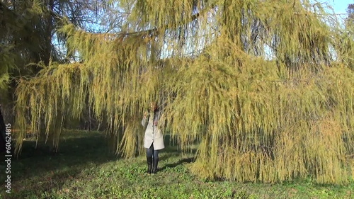 yellow autumn larch branches coming young blonde girl