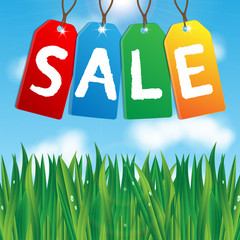colorful labels sales on background blue sky and green grass.vec