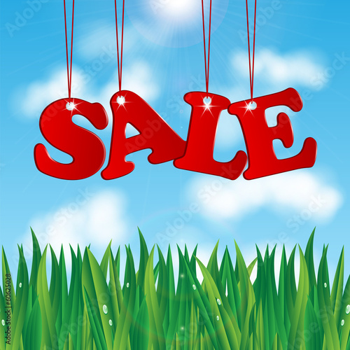 word sale on a background of blue sky and green grass.seasonal