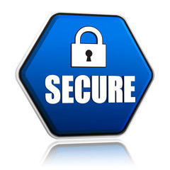 secure and padlock sign on blue hexagon banner