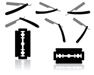 Black silhouettes of razors on white background, vector