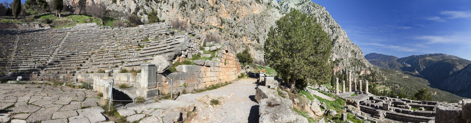 Ancient theater and Apollo temple in Delphi, Greece .