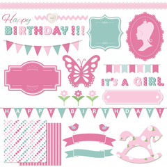 Birthday party and baby shower design elements.
