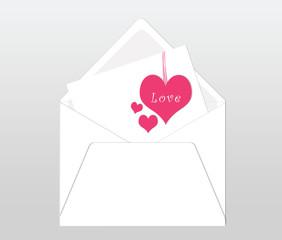 Postal con sobre y tarjeta con corazones rosas