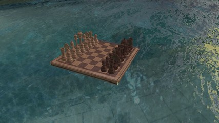 Chess board floats on the water and then drown