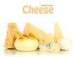Various types of cheese isolated on white