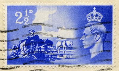 Vintage British Postage Stamp with King George VI