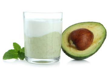 Fresh avocado smoothie isolated on white