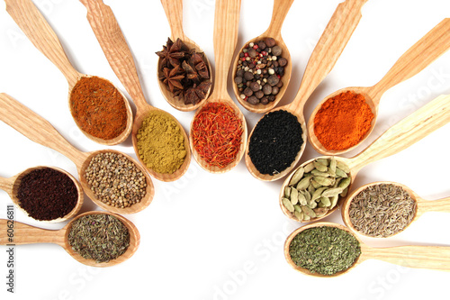 Foto op Plexiglas Kruiden 2 Assortment of spices in wooden spoons, isolated on white