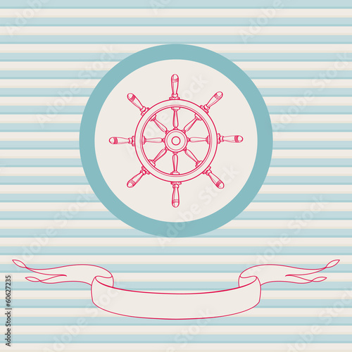 Sea theme vector card template with steering wheel.