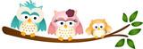 Happy Owl Family on Tree Branch