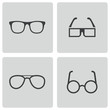 Vector black glasses icons set - 60628093