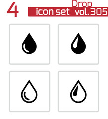 Vector black drop icons set