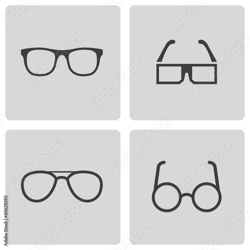 Vector black glasses icons set