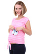 Young pregnant woman holding blue baby shoes isolated on white