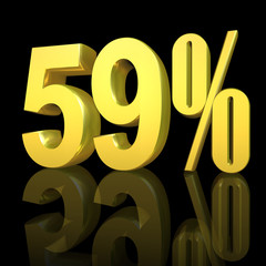 3D Prozetangabe und Prozentzeichen in Gold mit Spiegelung