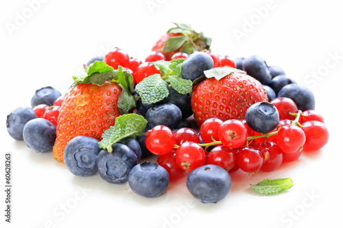 various berries - strawberry, currant, blueberry