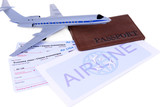 Airline tickets with passport isolated on white