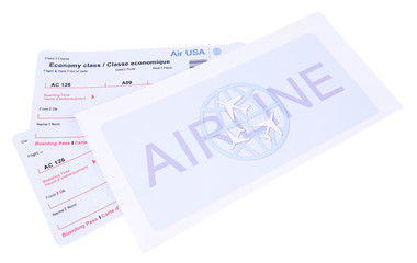 Airline tickets isolated on white