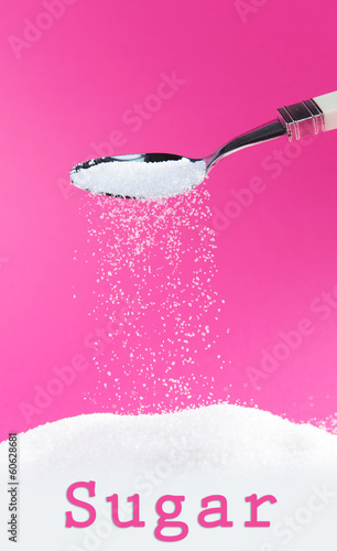 Sugar on pink background