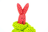 Knitted Easter Rabbit head poking out of woolly scarf poster
