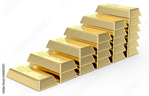 Stack of Gold bars on a white background