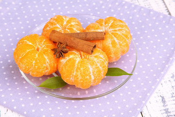 Ripe sweet tangerines with spices