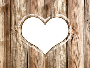 Herz weiss freigestellt Holzwand
