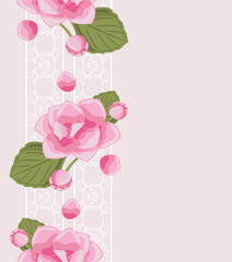 Decorative border with white lace and pink flowers