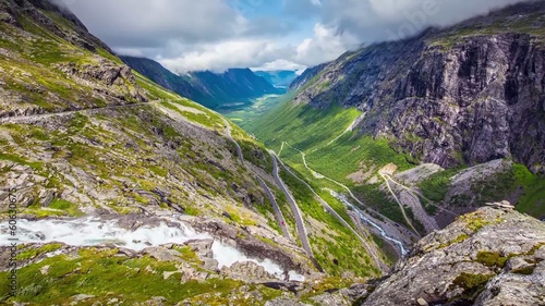 Timelapse, Trollstigen serpentine mountain road, Norway