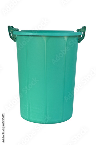 new close big green plastic recycle bin