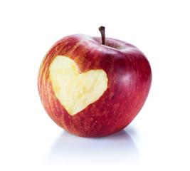 heart in red apple
