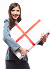 Gift box business woman hold against white background.
