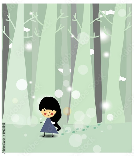 Playful girl outdoors vector background