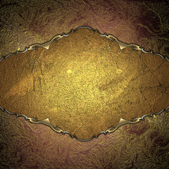 Abstract red and yellow background with grunge golden plate
