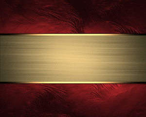 Design template. Red background with gold ribbon