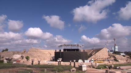 Caesarea amphitheatre stage cloudscape timelapse