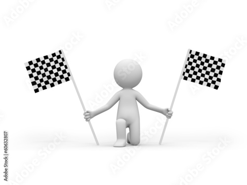 3d people holding Checker Flag