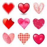 collection of 9 different vector hearts