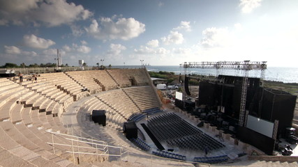 Caesarea amphitheatre stage side view timelapse