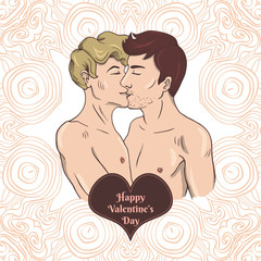 Happy Valentine's day card with two gay men kissing