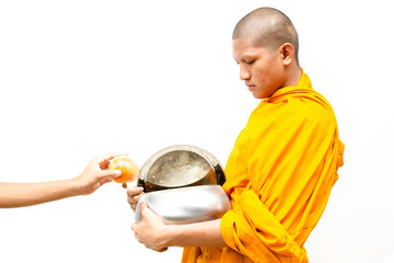 Put food offerings in a Buddhist monk's alms bowl.