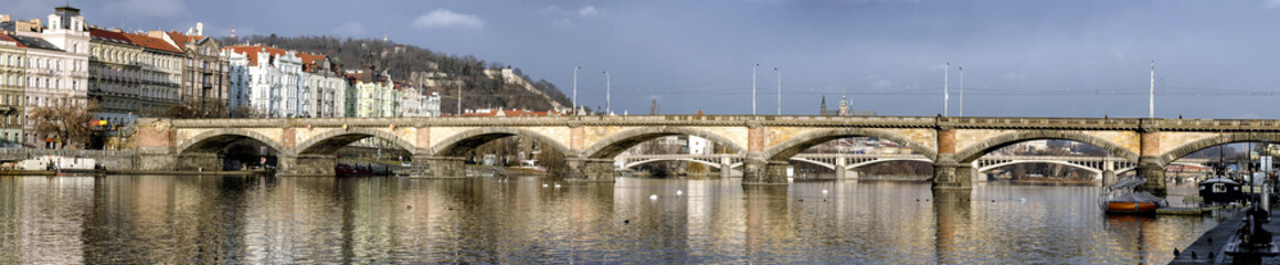 Panorama of Palacheho Bridge on the Vltava River in Prague